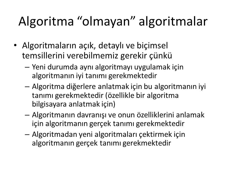 """Algoritma """"olmayan"""" algoritmalar Algoritmaların açık, detaylı ve biçimsel temsillerini verebilmemiz gerekir çünkü – Yeni durumda aynı algoritmayı uygu"""