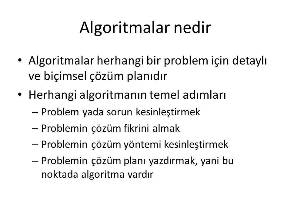 Algoritmalar nedir Algoritmalar herhangi bir problem için detaylı ve biçimsel çözüm planıdır Herhangi algoritmanın temel adımları – Problem yada sorun