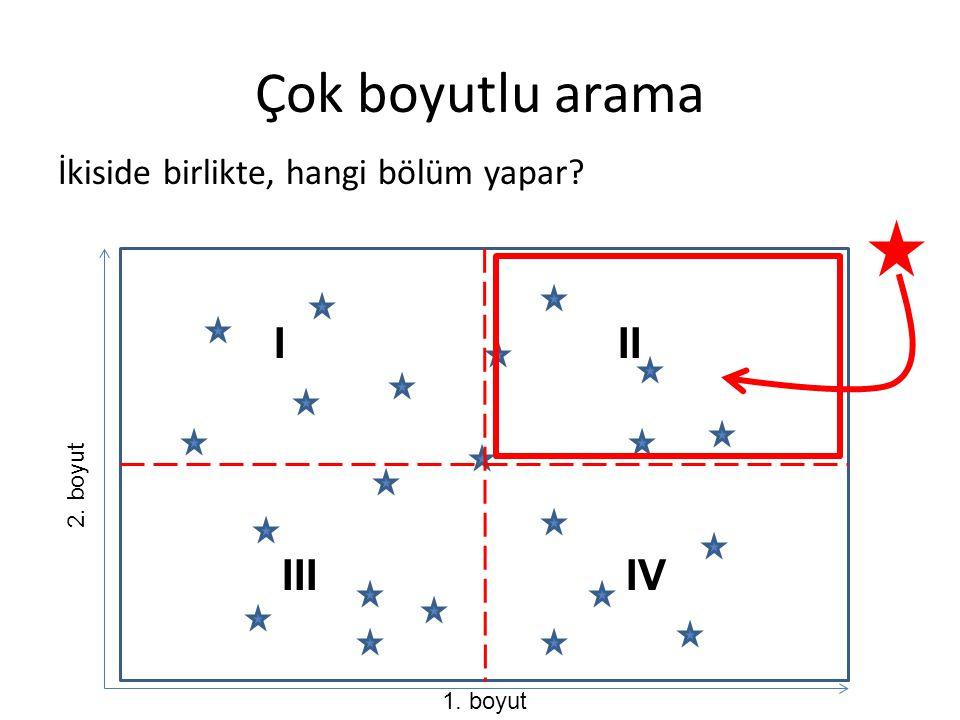 Çok boyutlu arama İkiside birlikte, hangi bölüm yapar? 1. boyut 2. boyut III IIIIV