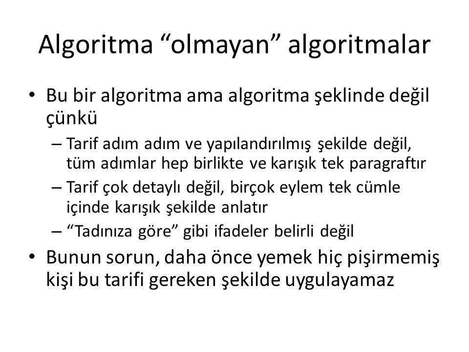 Algoritma olmayan algoritmalar Algoritmaların açık, detaylı ve biçimsel temsillerini verebilmemiz gerekir çünkü – Yeni durumda aynı algoritmayı uygulamak için algoritmanın iyi tanımı gerekmektedir – Algoritma diğerlere anlatmak için bu algoritmanın iyi tanımı gerekmektedir (özellikle bir algoritma bilgisayara anlatmak için) – Algoritmanın davranışı ve onun özelliklerini anlamak için algoritmanın gerçek tanımı gerekmektedir – Algoritmadan yeni algoritmaları çektirmek için algoritmanın gerçek tanımı gerekmektedir