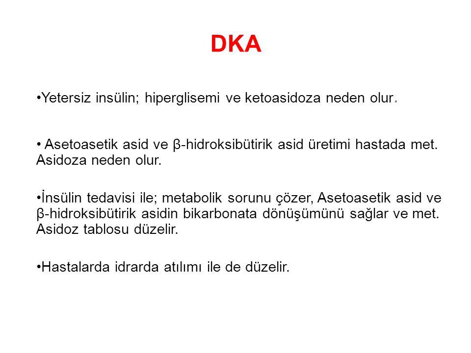 DKA Yetersiz insülin; hiperglisemi ve ketoasidoza neden olur. Asetoasetik asid ve β-hidroksibütirik asid üretimi hastada met. Asidoza neden olur. İnsü