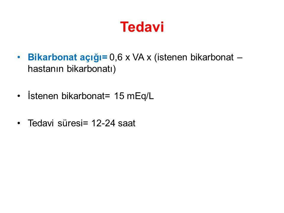 Tedavi Bikarbonat açığı= 0,6 x VA x (istenen bikarbonat – hastanın bikarbonatı) İstenen bikarbonat= 15 mEq/L Tedavi süresi= 12-24 saat