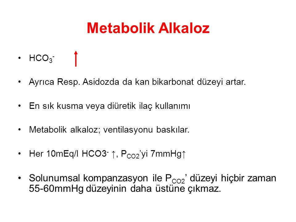 Metabolik Alkaloz HCO 3 - Ayrıca Resp. Asidozda da kan bikarbonat düzeyi artar. En sık kusma veya diüretik ilaç kullanımı Metabolik alkaloz; ventilasy
