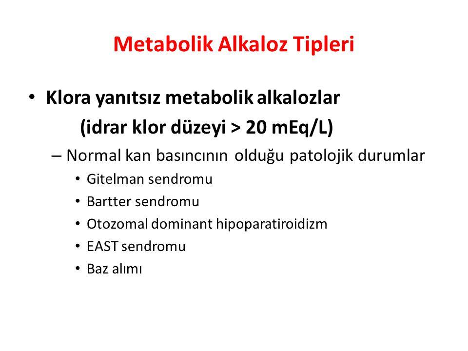 Metabolik Alkaloz Tipleri Klora yanıtsız metabolik alkalozlar (idrar klor düzeyi > 20 mEq/L) – Normal kan basıncının olduğu patolojik durumlar Gitelma