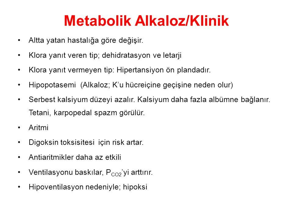 Metabolik Alkaloz/Klinik Altta yatan hastalığa göre değişir. Klora yanıt veren tip; dehidratasyon ve letarji Klora yanıt vermeyen tip: Hipertansiyon ö