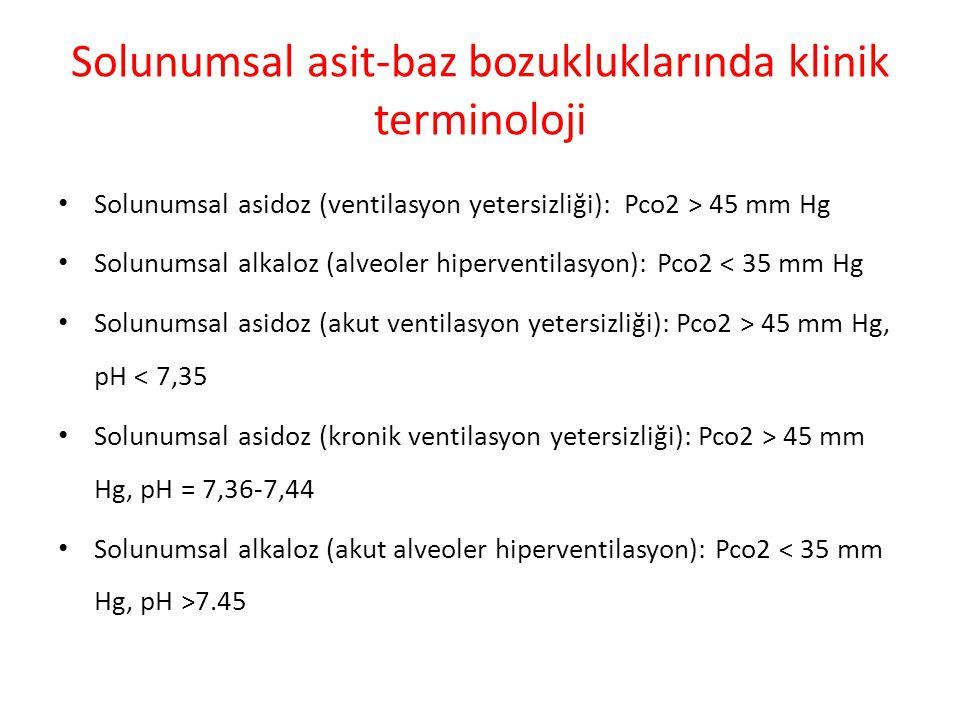 Solunumsal asit-baz bozukluklarında klinik terminoloji Solunumsal asidoz (ventilasyon yetersizliği): Pco2 > 45 mm Hg Solunumsal alkaloz (alveoler hipe