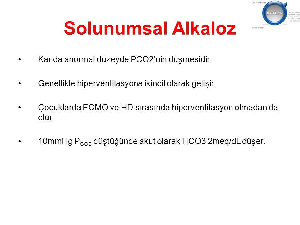 Solunumsal Alkaloz Kanda anormal düzeyde PCO2'nin düşmesidir. Genellikle hiperventilasyona ikincil olarak gelişir. Çocuklarda ECMO ve HD sırasında hip