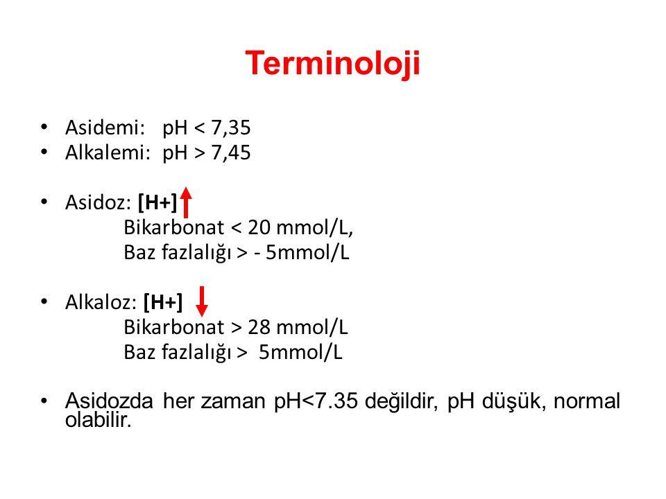 Terminoloji Asidemi: pH < 7,35 Alkalemi: pH > 7,45 Asidoz: [H+] Bikarbonat < 20 mmol/L, Baz fazlalığı > - 5mmol/L Alkaloz: [H+] Bikarbonat > 28 mmol/L