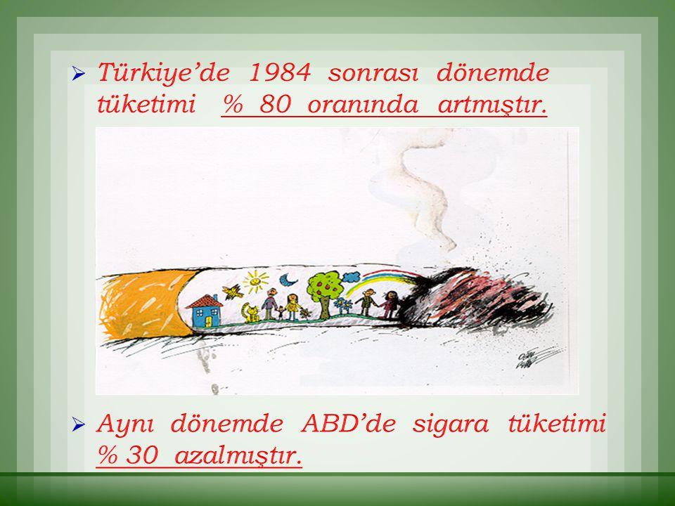  Türkiye'de 1984 sonrası dönemde tüketimi % 80 oranında artmıştır.  Aynı dönemde ABD'de sigara tüketimi % 30 azalmıştır.