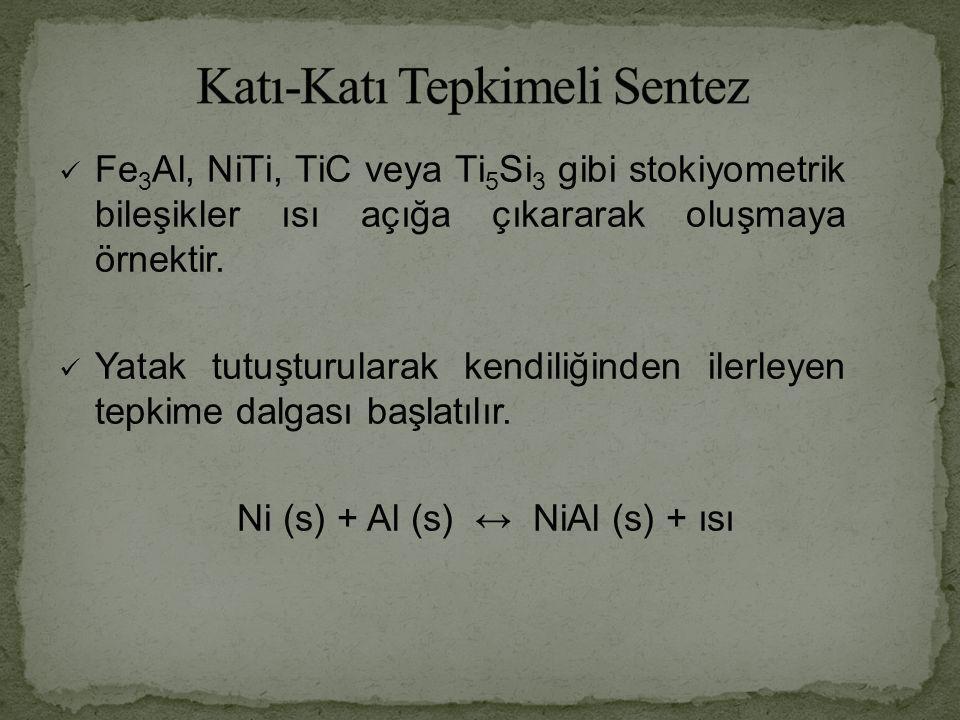 Fe 3 Al, NiTi, TiC veya Ti 5 Si 3 gibi stokiyometrik bileşikler ısı açığa çıkararak oluşmaya örnektir.