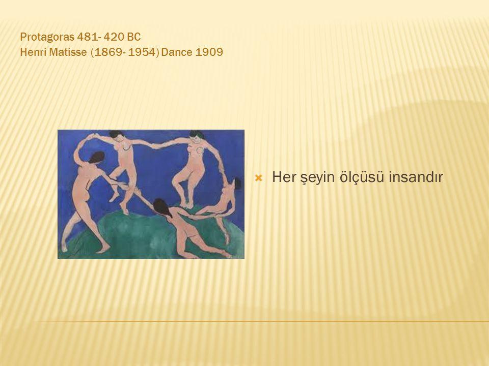 Protagoras 481- 420 BC Henri Matisse (1869- 1954) Dance 1909  Her şeyin ölçüsü insandır