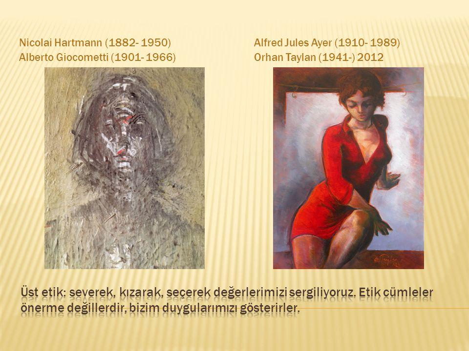 Nicolai Hartmann (1882- 1950) Alberto Giocometti (1901- 1966) Alfred Jules Ayer (1910- 1989) Orhan Taylan (1941-) 2012