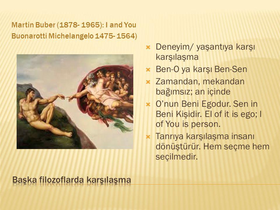 Martin Buber (1878- 1965): I and You Buonarotti Michelangelo 1475- 1564)  Deneyim/ yaşantıya karşı karşılaşma  Ben-O ya karşı Ben-Sen  Zamandan, mekandan bağımsız; an içinde  O'nun Beni Egodur.