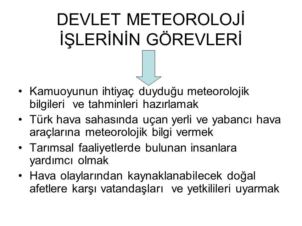 DEVLET METEOROLOJİ İŞLERİNİN GÖREVLERİ Kamuoyunun ihtiyaç duyduğu meteorolojik bilgileri ve tahminleri hazırlamak Türk hava sahasında uçan yerli ve ya
