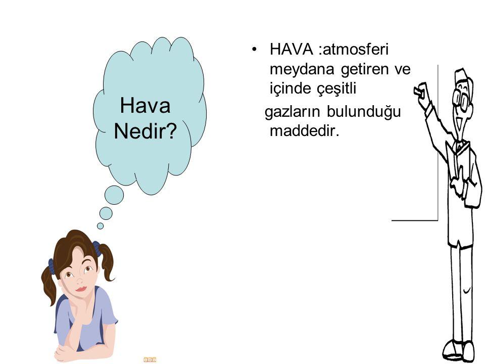 Hava Nedir? HAVA :atmosferi meydana getiren ve içinde çeşitli gazların bulunduğu maddedir.