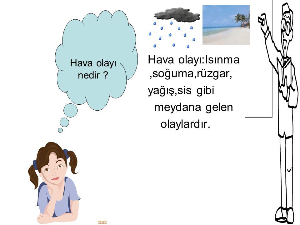 Hava olayı nedir ? Hava olayı:Isınma,soğuma,rüzgar, yağış,sis gibi meydana gelen olaylardır.