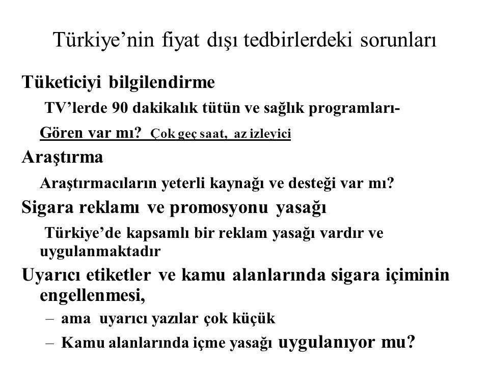 Türkiye'nin fiyat dışı tedbirlerdeki sorunları Tüketiciyi bilgilendirme TV'lerde 90 dakikalık tütün ve sağlık programları- Gören var mı.