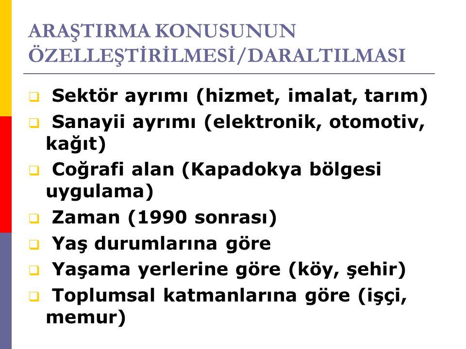 ARAŞTIRMA KONUSUNUN ÖZELLEŞTİRİLMESİ/DARALTILMASI  Sektör ayrımı (hizmet, imalat, tarım)  Sanayii ayrımı (elektronik, otomotiv, kağıt)  Coğrafi alan (Kapadokya bölgesi uygulama)  Zaman (1990 sonrası)  Yaş durumlarına göre  Yaşama yerlerine göre (köy, şehir)  Toplumsal katmanlarına göre (işçi, memur)
