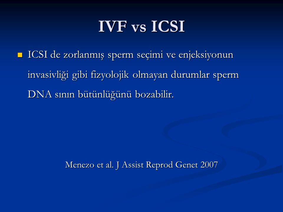 IVF vs ICSI ICSI de zorlanmış sperm seçimi ve enjeksiyonun invasivliği gibi fizyolojik olmayan durumlar sperm DNA sının bütünlüğünü bozabilir.