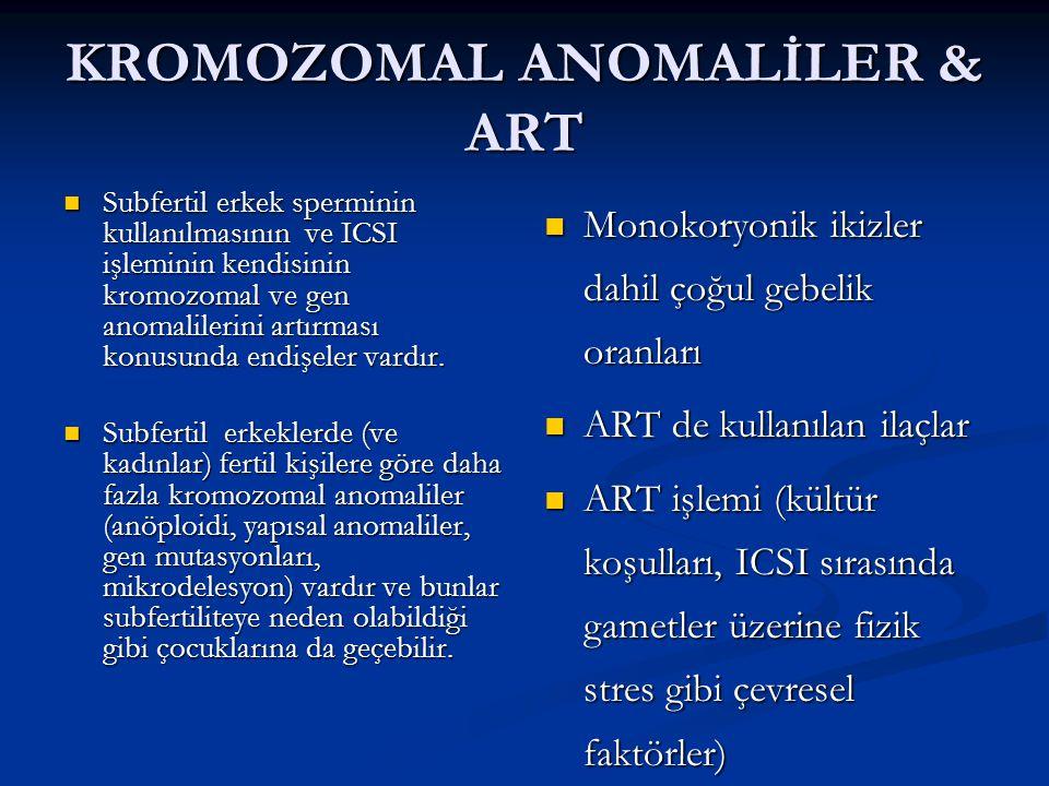 KROMOZOMAL ANOMALİLER & ART Subfertil erkek sperminin kullanılmasının ve ICSI işleminin kendisinin kromozomal ve gen anomalilerini artırması konusunda endişeler vardır.