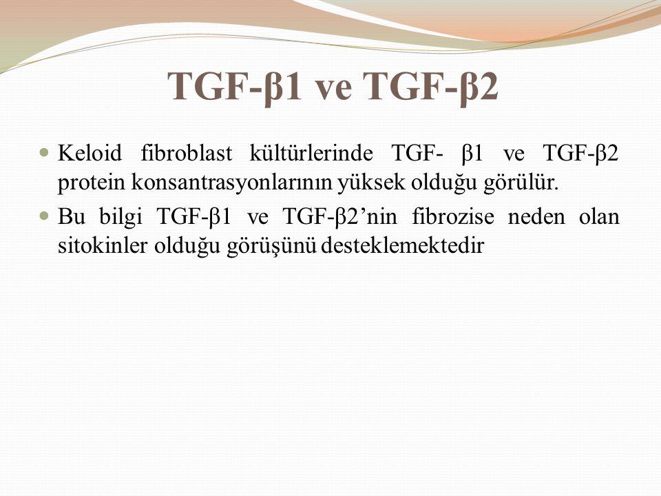 TGF-β1 ve TGF-β2 Keloid fibroblast kültürlerinde TGF- β1 ve TGF-β2 protein konsantrasyonlarının yüksek olduğu görülür. Bu bilgi TGF-β1 ve TGF-β2'nin f