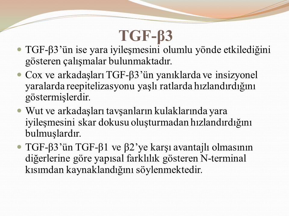TGF-β3 TGF-β3'ün ise yara iyileşmesini olumlu yönde etkilediğini gösteren çalışmalar bulunmaktadır. Cox ve arkadaşları TGF-β3'ün yanıklarda ve insizyo