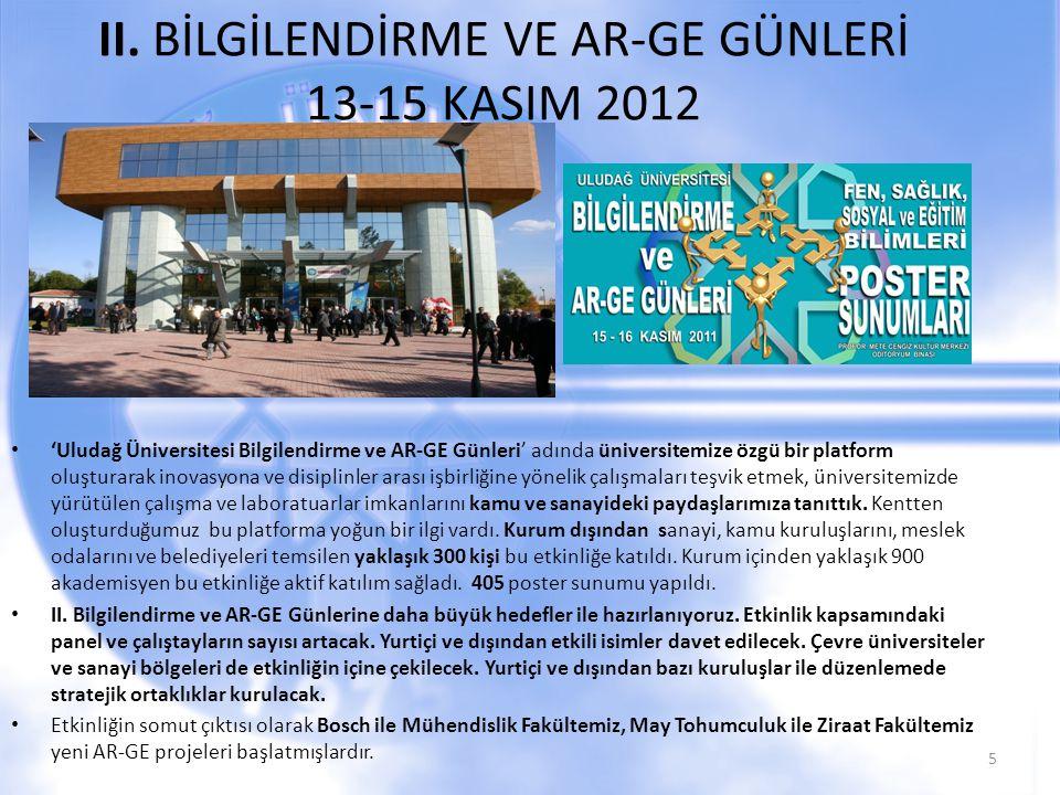 II. BİLGİLENDİRME VE AR-GE GÜNLERİ 13-15 KASIM 2012 'Uludağ Üniversitesi Bilgilendirme ve AR-GE Günleri' adında üniversitemize özgü bir platform oluşt
