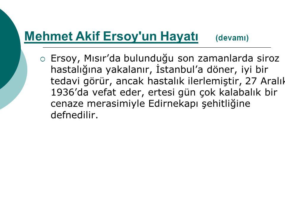  Ersoy, Mısır'da bulunduğu son zamanlarda siroz hastalığına yakalanır, İstanbul'a döner, iyi bir tedavi görür, ancak hastalık ilerlemiştir, 27 Aralık