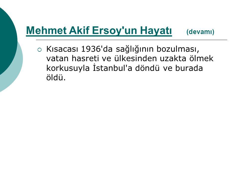  Kısacası 1936'da sağlığının bozulması, vatan hasreti ve ülkesinden uzakta ölmek korkusuyla İstanbul'a döndü ve burada öldü. Mehmet Akif Ersoy'un Hay