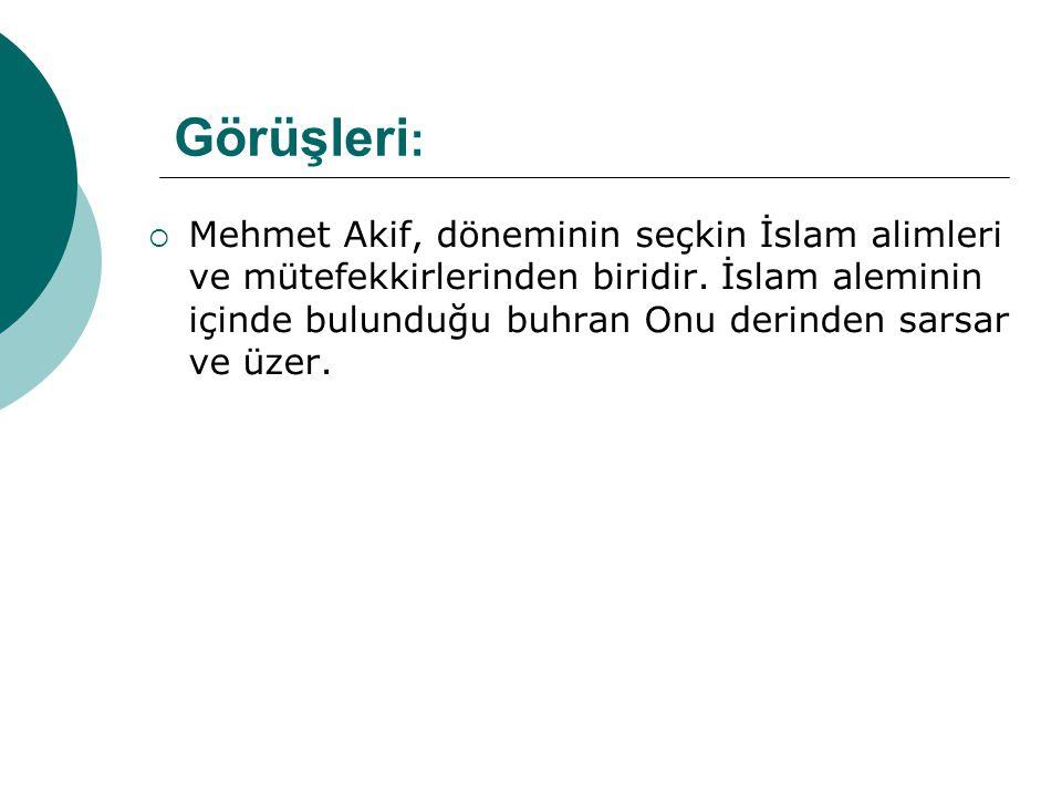 Görüşleri :  Mehmet Akif, döneminin seçkin İslam alimleri ve mütefekkirlerinden biridir. İslam aleminin içinde bulunduğu buhran Onu derinden sarsar v