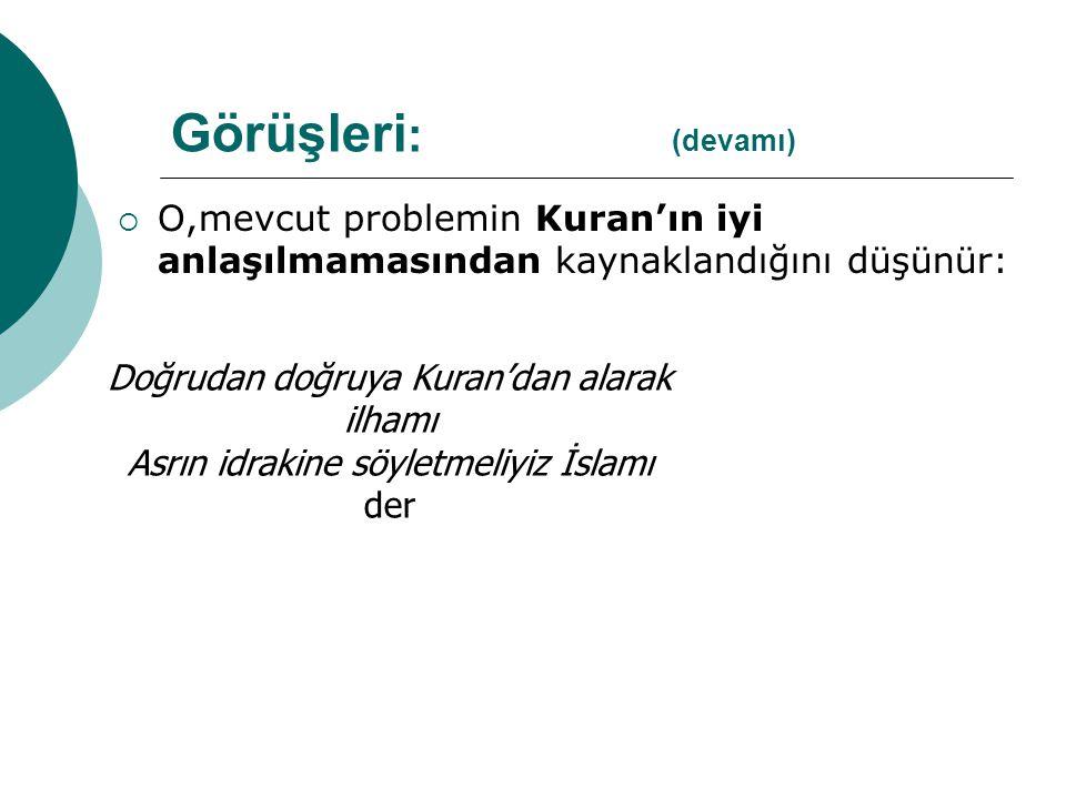 O,mevcut problemin Kuran'ın iyi anlaşılmamasından kaynaklandığını düşünür: Doğrudan doğruya Kuran'dan alarak ilhamı Asrın idrakine söyletmeliyiz İslamı der Görüşleri : (devamı)