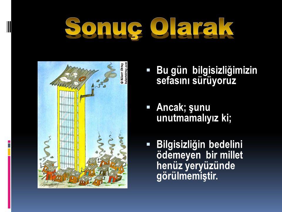 Muştular verirdik ona, uygar uluslara eşit buluşlardan,  Uzaya Türk adını yazardık, Atatürk kapsülüyle,  Kahvelerde değil, laboratuarlarda sabahlardık,  Yoksunluk değil, kitaplar ve bilim ağartırdı saçlarımızı,  Kuru söz değil, iş üretirdik ona,  Oysa biz, hala aynı yerdeyiz.