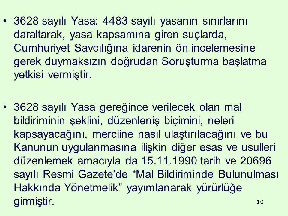 3628 sayılı Yasa; 4483 sayılı yasanın sınırlarını daraltarak, yasa kapsamına giren suçlarda, Cumhuriyet Savcılığına idarenin ön incelemesine gerek duy