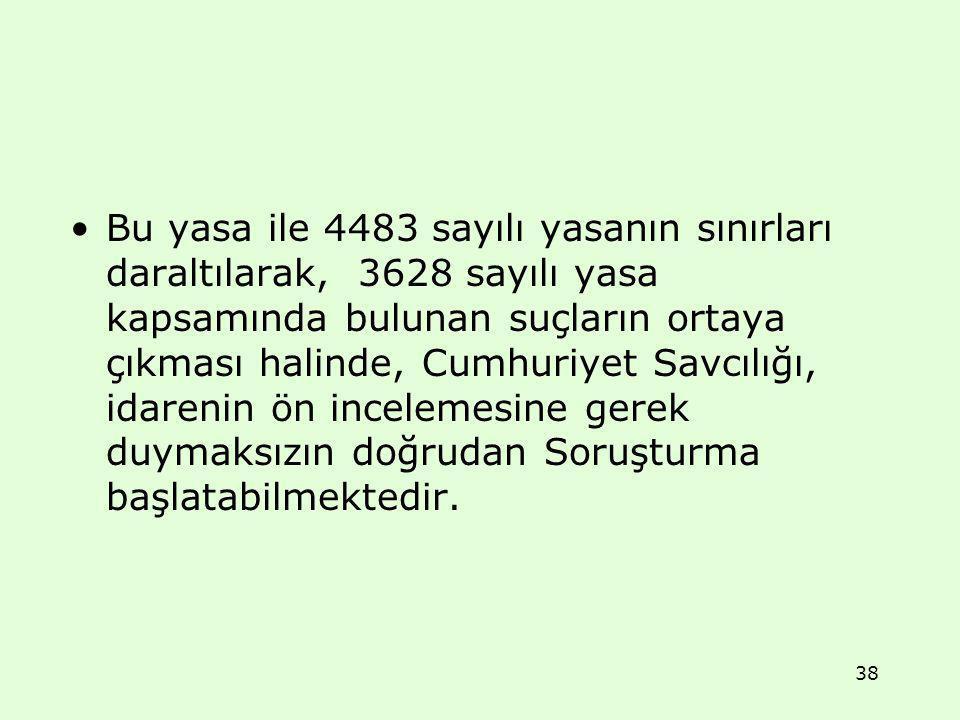 Bu yasa ile 4483 sayılı yasanın sınırları daraltılarak, 3628 sayılı yasa kapsamında bulunan suçların ortaya çıkması halinde, Cumhuriyet Savcılığı, ida
