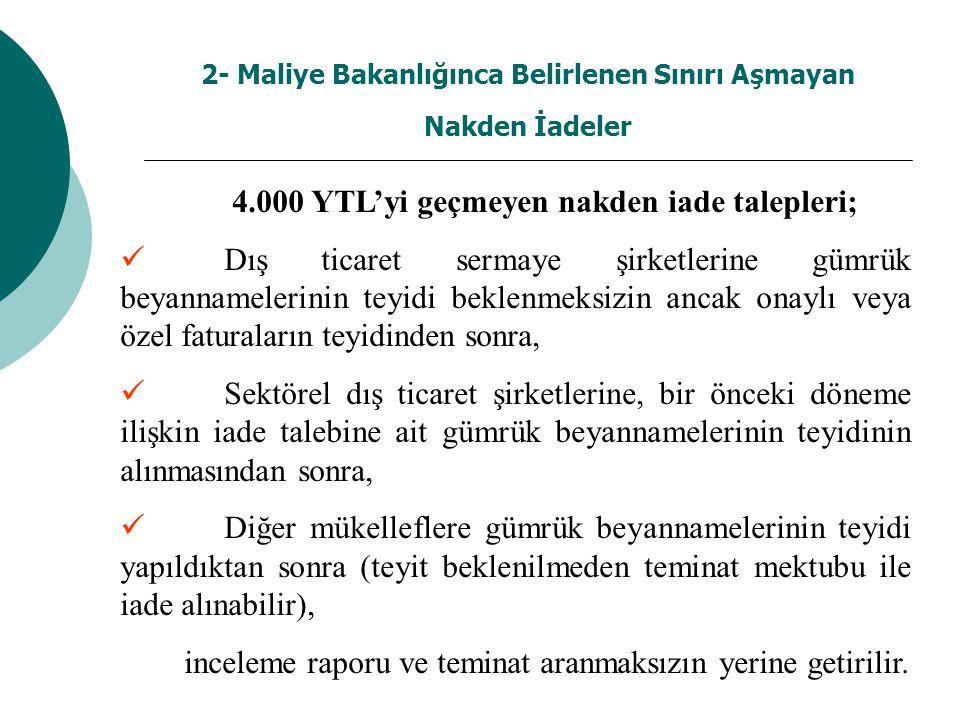 2- Maliye Bakanlığınca Belirlenen Sınırı Aşmayan Nakden İadeler 4.000 YTL'yi geçmeyen nakden iade talepleri; Dış ticaret sermaye şirketlerine gümrük b