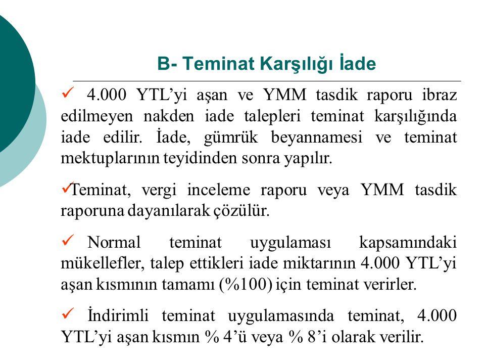 B- Teminat Karşılığı İade 4.000 YTL'yi aşan ve YMM tasdik raporu ibraz edilmeyen nakden iade talepleri teminat karşılığında iade edilir. İade, gümrük