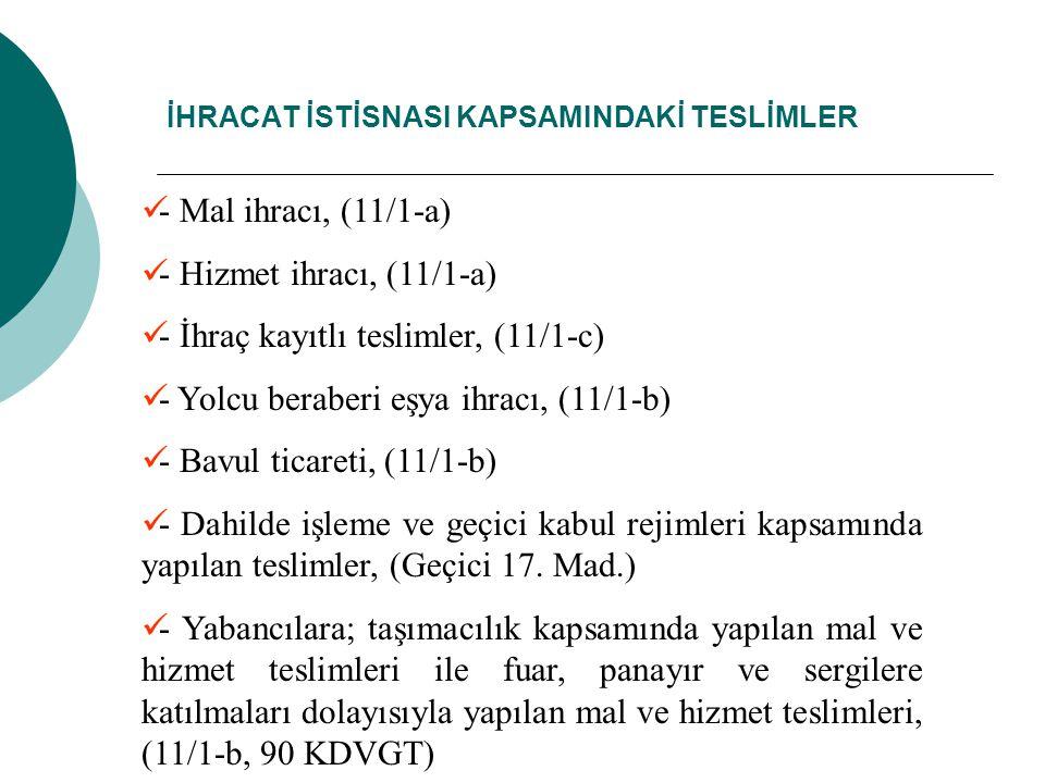 İHRACAT İSTİSNASI KAPSAMINDAKİ TESLİMLER - Mal ihracı, (11/1-a) - Hizmet ihracı, (11/1-a) - İhraç kayıtlı teslimler, (11/1-c) - Yolcu beraberi eşya ih