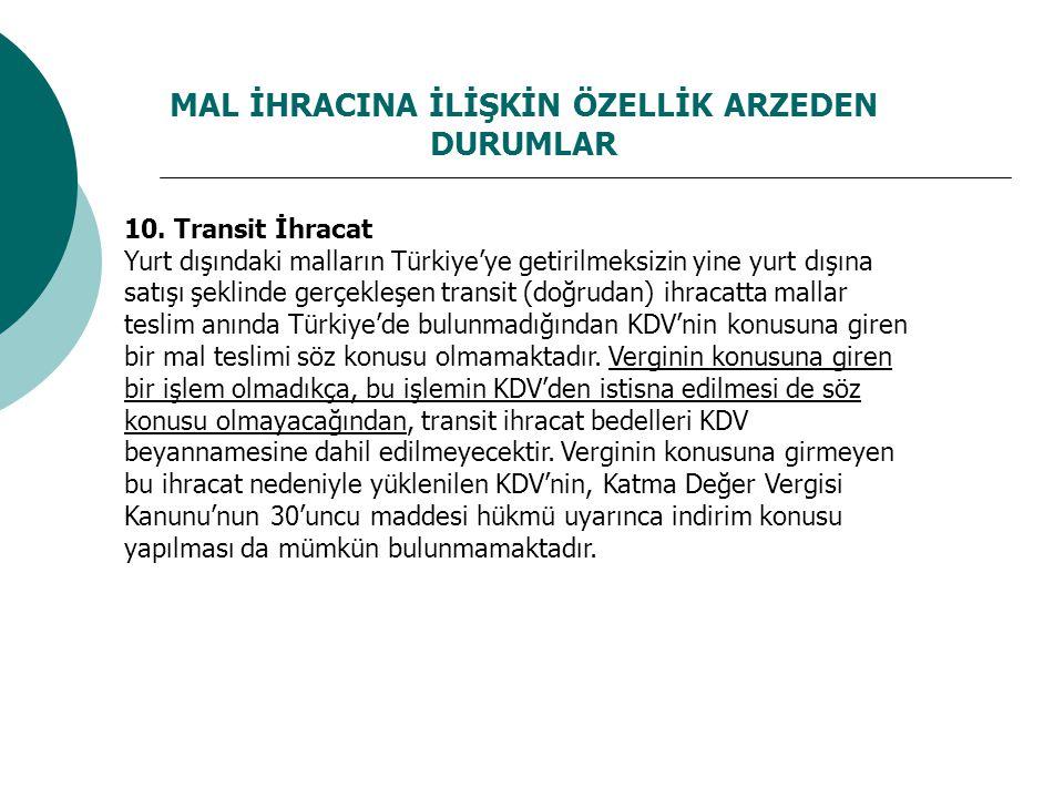 MAL İHRACINA İLİŞKİN ÖZELLİK ARZEDEN DURUMLAR 10. Transit İhracat Yurt dışındaki malların Türkiye'ye getirilmeksizin yine yurt dışına satışı şeklinde
