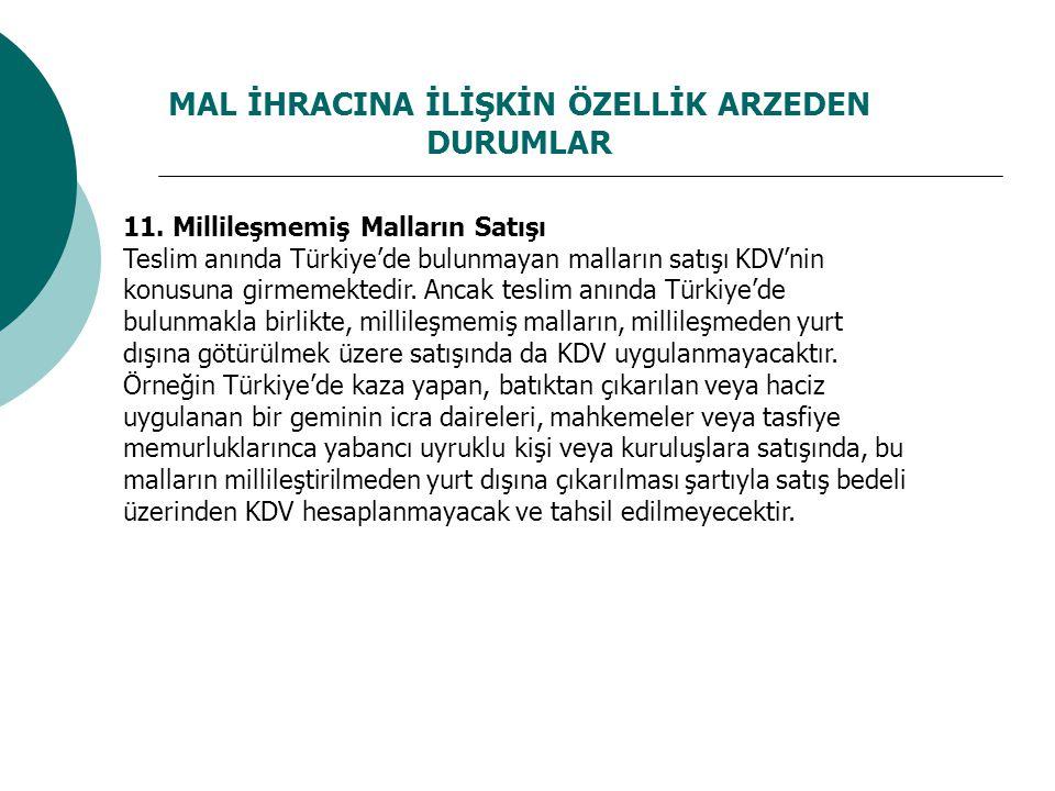 MAL İHRACINA İLİŞKİN ÖZELLİK ARZEDEN DURUMLAR 11. Millileşmemiş Malların Satışı Teslim anında Türkiye'de bulunmayan malların satışı KDV'nin konusuna g