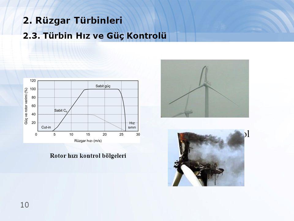 10  Pasif kontrol 2. Rüzgar Türbinleri 2.3. Türbin Hız ve Güç Kontrolü Rotor hızı kontrol bölgeleri  Aktif kontrol  Aktif stall kontrol