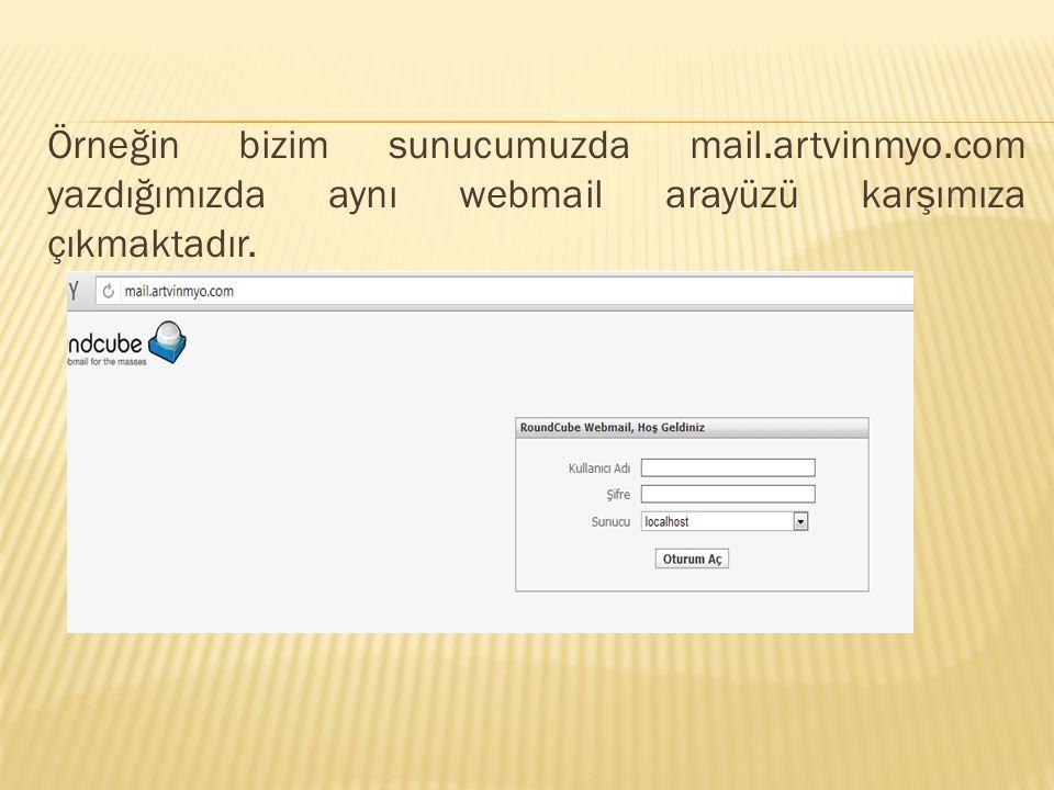 Örneğin bizim sunucumuzda mail.artvinmyo.com yazdığımızda aynı webmail arayüzü karşımıza çıkmaktadır.