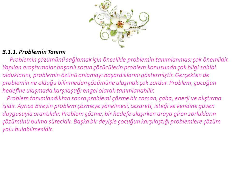 3.1.1. Problemin Tanımı Problemin çözümünü sağlamak için öncelikle problemin tanımlanması çok önemlidir. Yapılan araştırmalar başarılı sorun çözücüler