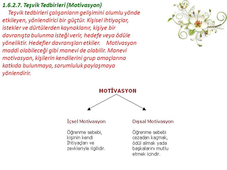 1.6.2.7. Teşvik Tedbirleri (Motivasyon) Teşvik tedbirleri çalışanların gelişimini olumlu yönde etkileyen, yönlendirici bir güçtür. Kişisel ihtiyaçlar,