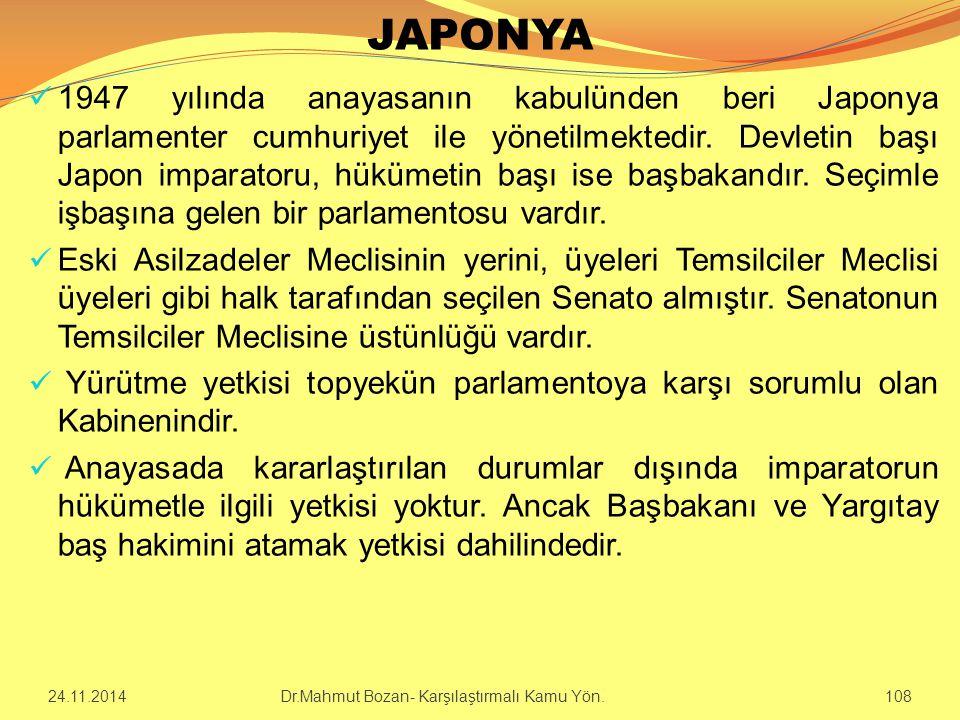 JAPONYA 1947 yılında anayasanın kabulünden beri Japonya parlamenter cumhuriyet ile yönetilmektedir. Devletin başı Japon imparatoru, hükümetin başı ise