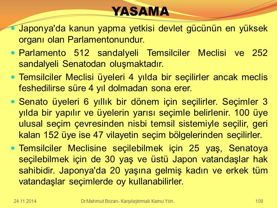YASAMA Japonya'da kanun yapma yetkisi devlet gücünün en yüksek organı olan Parlamentonundur. Parlamento 512 sandalyeli Temsilciler Meclisi ve 252 sand