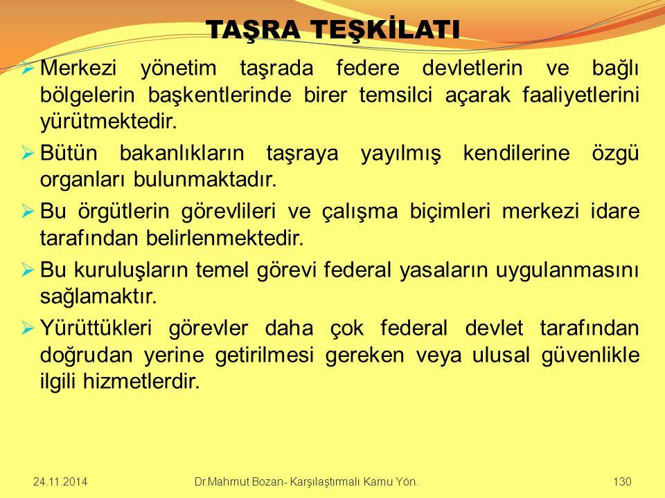 TAŞRA TEŞKİLATI  Merkezi yönetim taşrada federe devletlerin ve bağlı bölgelerin başkentlerinde birer temsilci açarak faaliyetlerini yürütmektedir. 