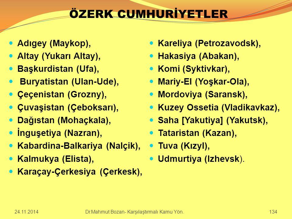 ÖZERK CUMHURİYETLER Adıgey (Maykop), Altay (Yukarı Altay), Başkurdistan (Ufa), Buryatistan (Ulan-Ude), Çeçenistan (Grozny), Çuvaşistan (Çeboksarı), Da