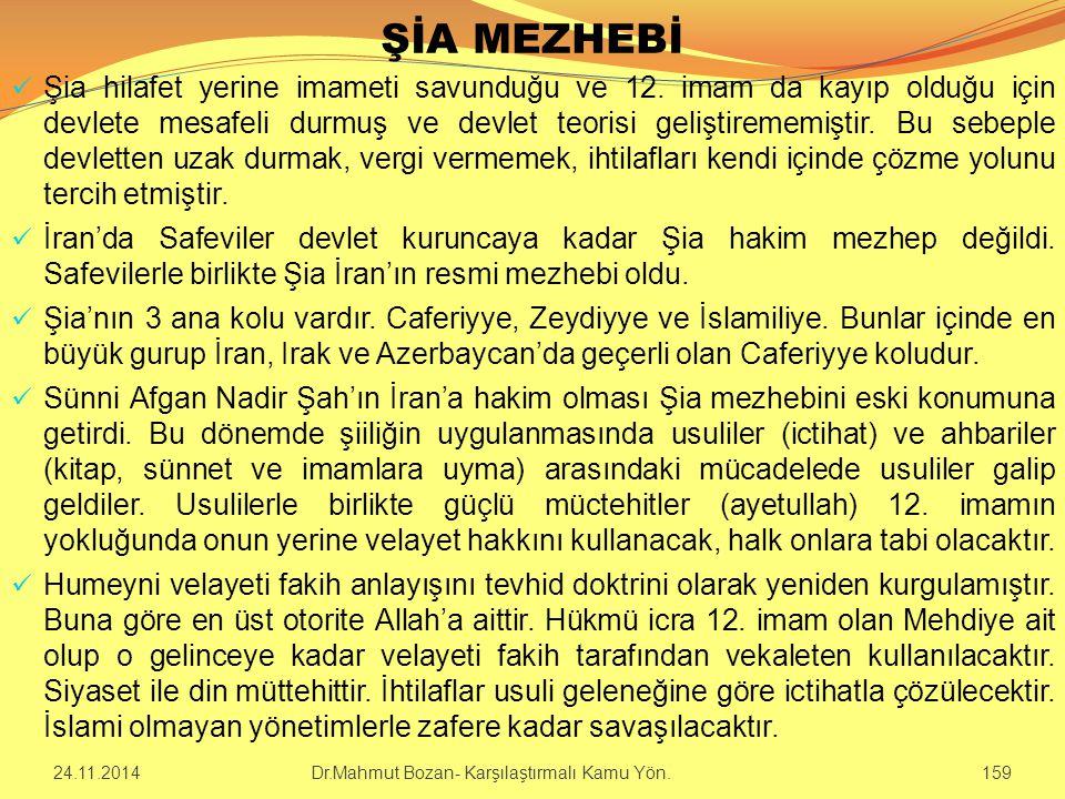 ŞİA MEZHEBİ Şia hilafet yerine imameti savunduğu ve 12. imam da kayıp olduğu için devlete mesafeli durmuş ve devlet teorisi geliştirememiştir. Bu sebe