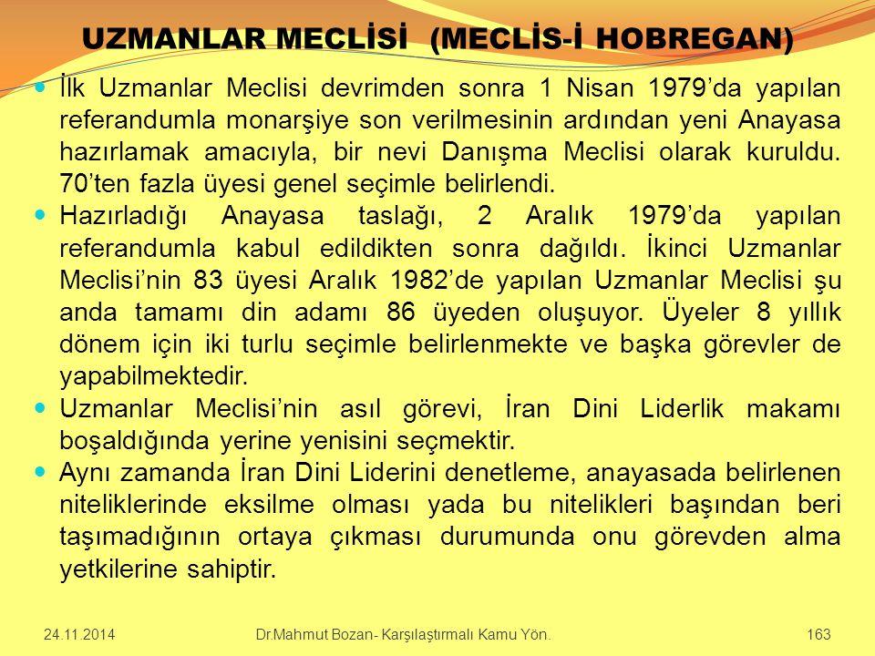 UZMANLAR MECLİSİ (MECLİS-İ HOBREGAN) İlk Uzmanlar Meclisi devrimden sonra 1 Nisan 1979'da yapılan referandumla monarşiye son verilmesinin ardından yen