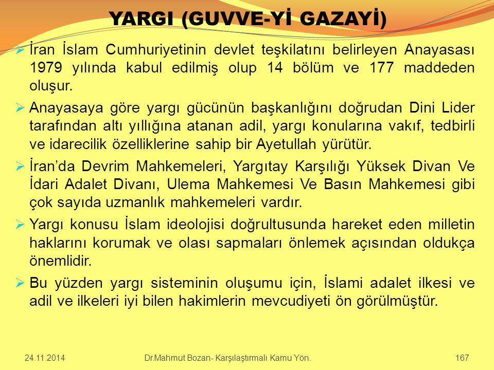 YARGI (GUVVE-Yİ GAZAYİ)  İran İslam Cumhuriyetinin devlet teşkilatını belirleyen Anayasası 1979 yılında kabul edilmiş olup 14 bölüm ve 177 maddeden o
